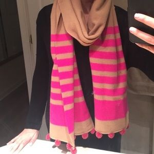 J crew pink and tan pompom scarf like new